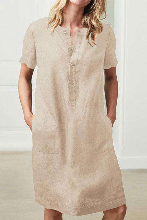 CielChic Short Sleeves Button Midi Dress(4 Colors)-Dress-CielChic