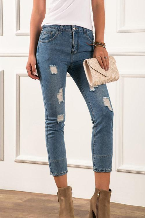 CielChic Skinny Ripped Crop Jeans-Pants-CielChic