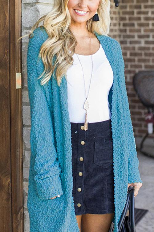 CielChic Solid Pocketed Cardigan(7 Colors)-Sweaters & Cardigans-CielChic