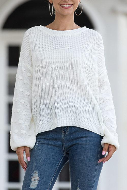 CielChic Solid Puff Sleeve Knit Sweater(4 Colors)-Sweaters & Cardigans-CielChic