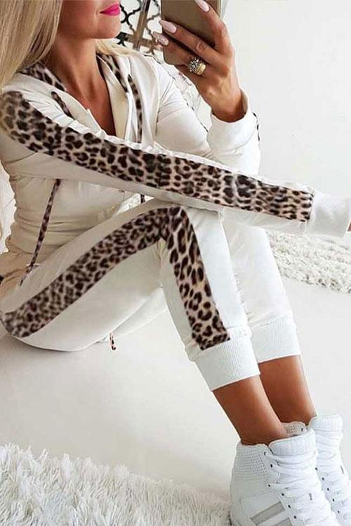 CielChic Sporty Leopard Drawstring Hoodie & Pants(2 Colors)-Suit-CielChic