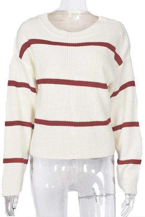 CielChic Striped Cotton Knit Sweater-Sweaters & Cardigans-CielChic