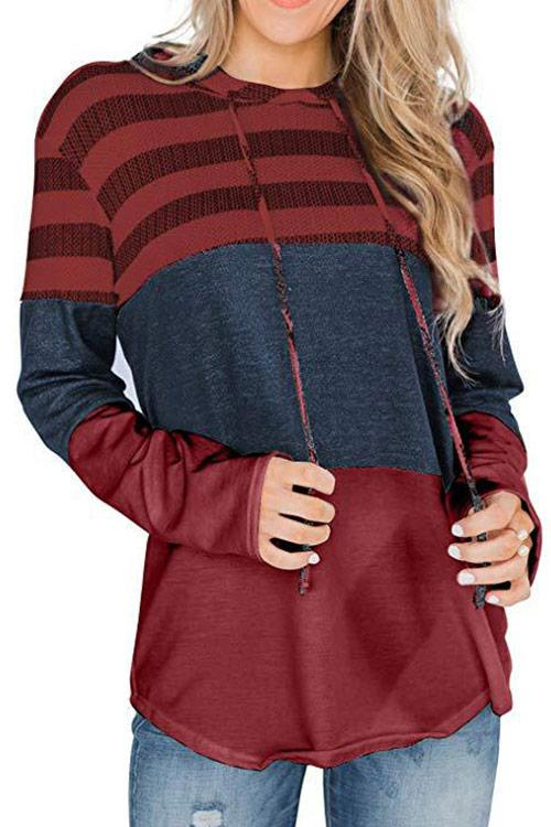CielChic Striped Drawstring Hoodie(8 Colors)-Hoodies & Sweatshirts-CielChic