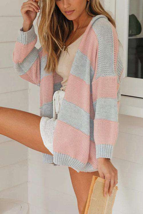 CielChic Striped Knit Cardigan-Sweaters & Cardigans-CielChic
