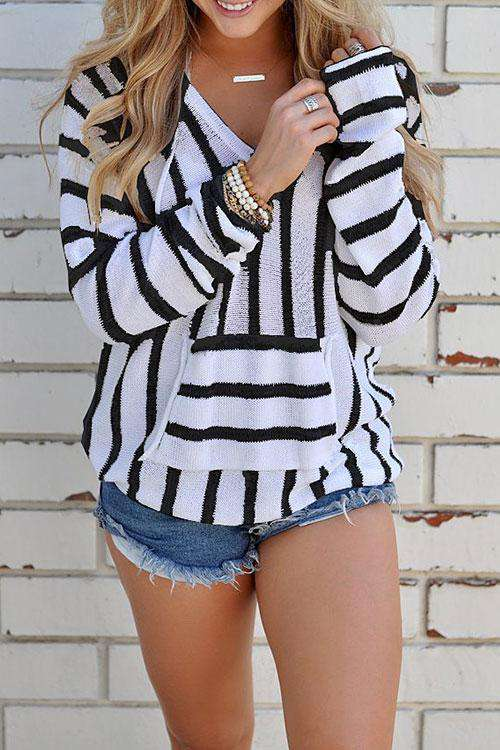 CielChic Striped Knit Hoodie(4 Colors)-Hoodies & Sweatshirts-CielChic