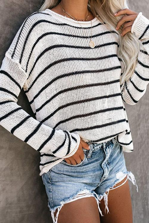 CielChic Striped Knit Sweater-Sweaters & Cardigans-CielChic