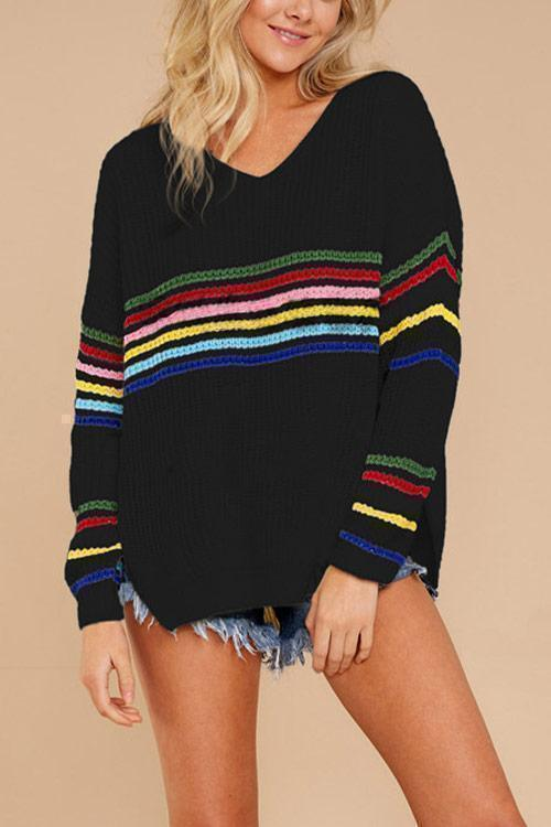CielChic Striped Knit Sweater(2 Colors)-Sweaters & Cardigans-CielChic