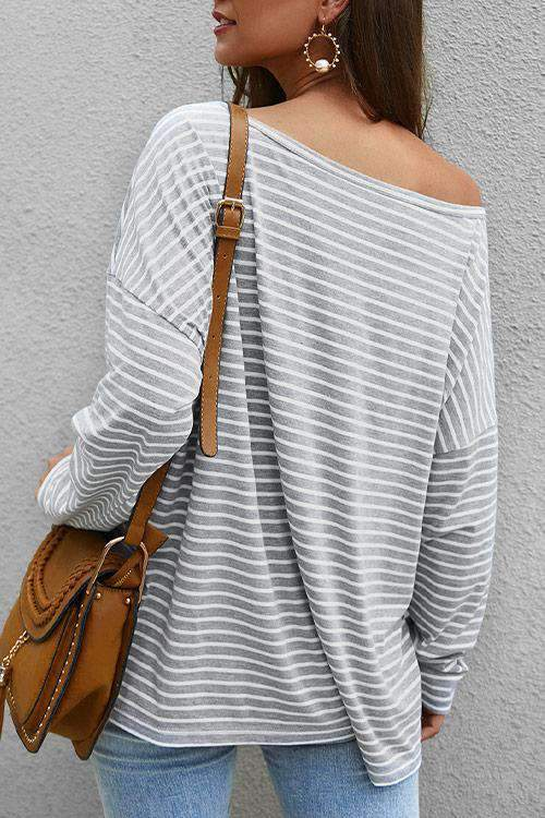 CielChic Striped Long Sleeve Tee(3 Colors)-T-Shirts-CielChic