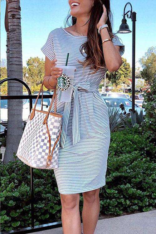 CielChic Striped Midi Dress(3 Colors)-Dress-CielChic