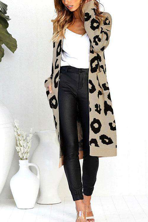 CielChic Sugar Girl Leopard Print Long Cardigan(3 Colors)-Sweaters & Cardigans-CielChic