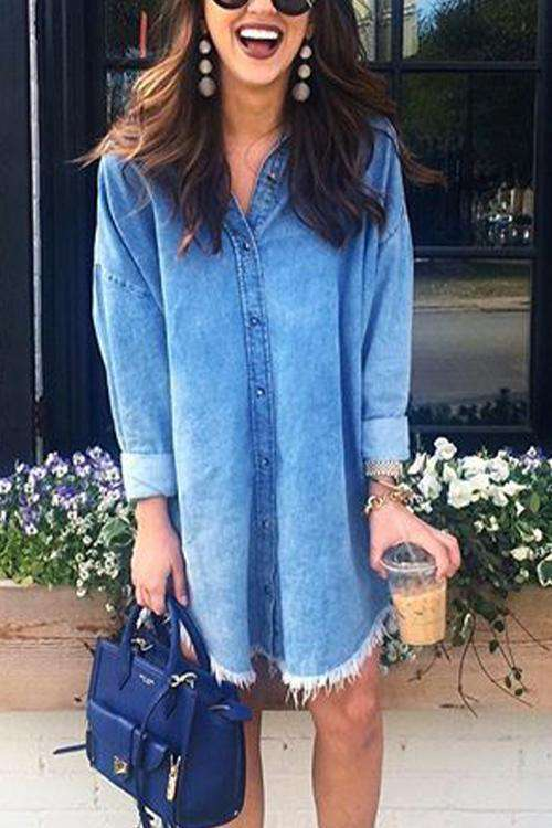 CielChic Tassel Button Down Shirt Dress-Dress-CielChic