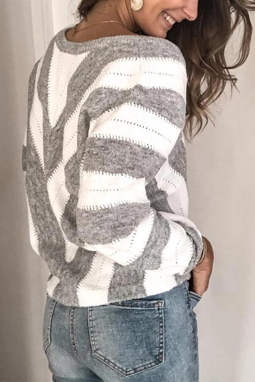 CielChic V-neck Color Block Sweater-Sweaters & Cardigans-CielChic