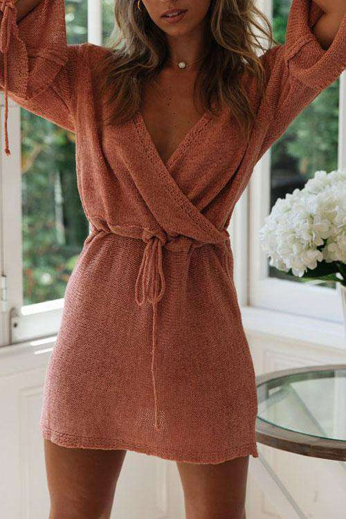 CielChic V-Neck Knit Long Sleeve Dress(3 Colors)-Dress-CielChic