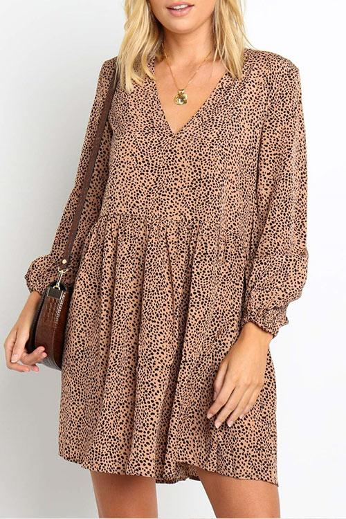 CielChic V-Neck Leopard Mini Dress-Dress-CielChic