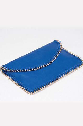 Cobalt Blue Envelope Chain Clutch