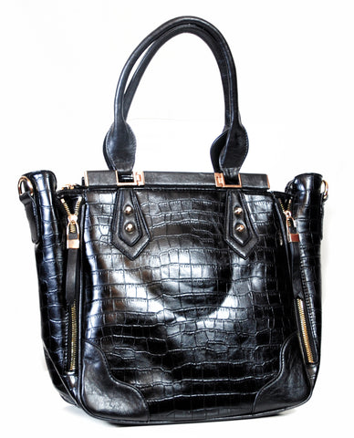 Black Reptile Embossed Tote