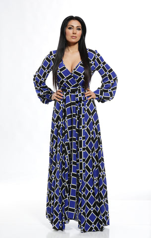 Cobalt Blue Print Maxi Dress