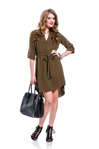 Army Green V-Neck Shirt Dress