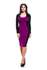 Fitted Purple Long-Sleeve Dress