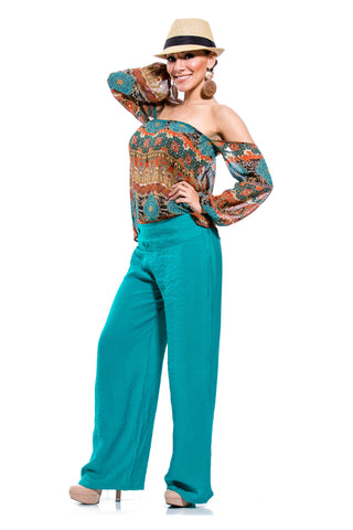 Teal Brocade Top