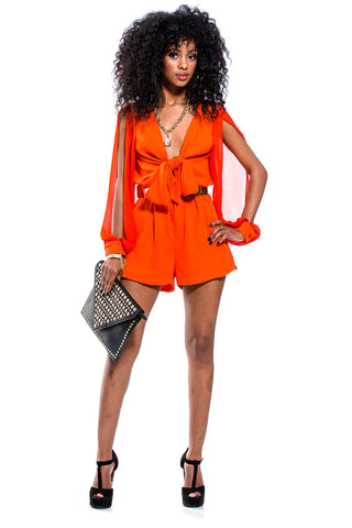 Tangerine Long Sleeve Romper With Front Tie