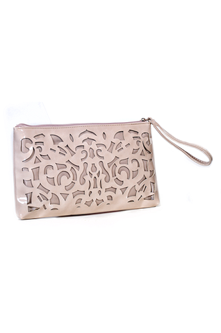 Sondra Roberts Patent Leather Laser Cut Clutch