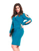 Teal Green Split Sleeves Embellished Dress