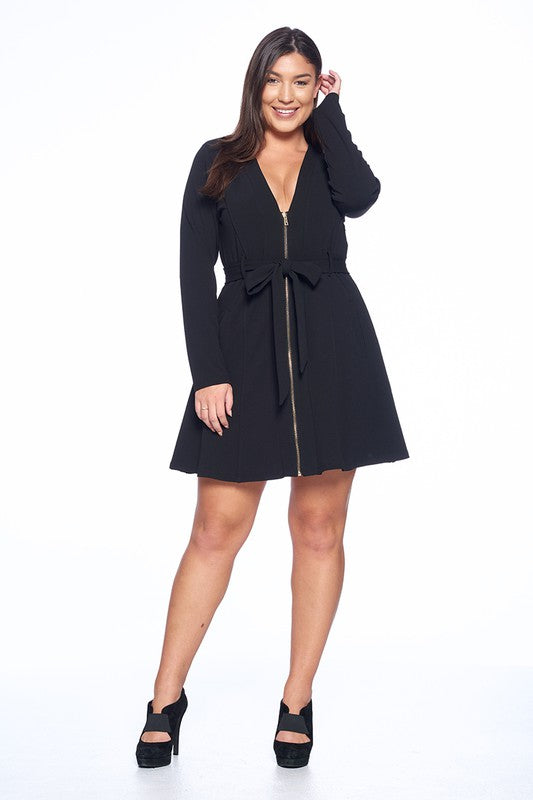 Black Zippered Dress-Plus