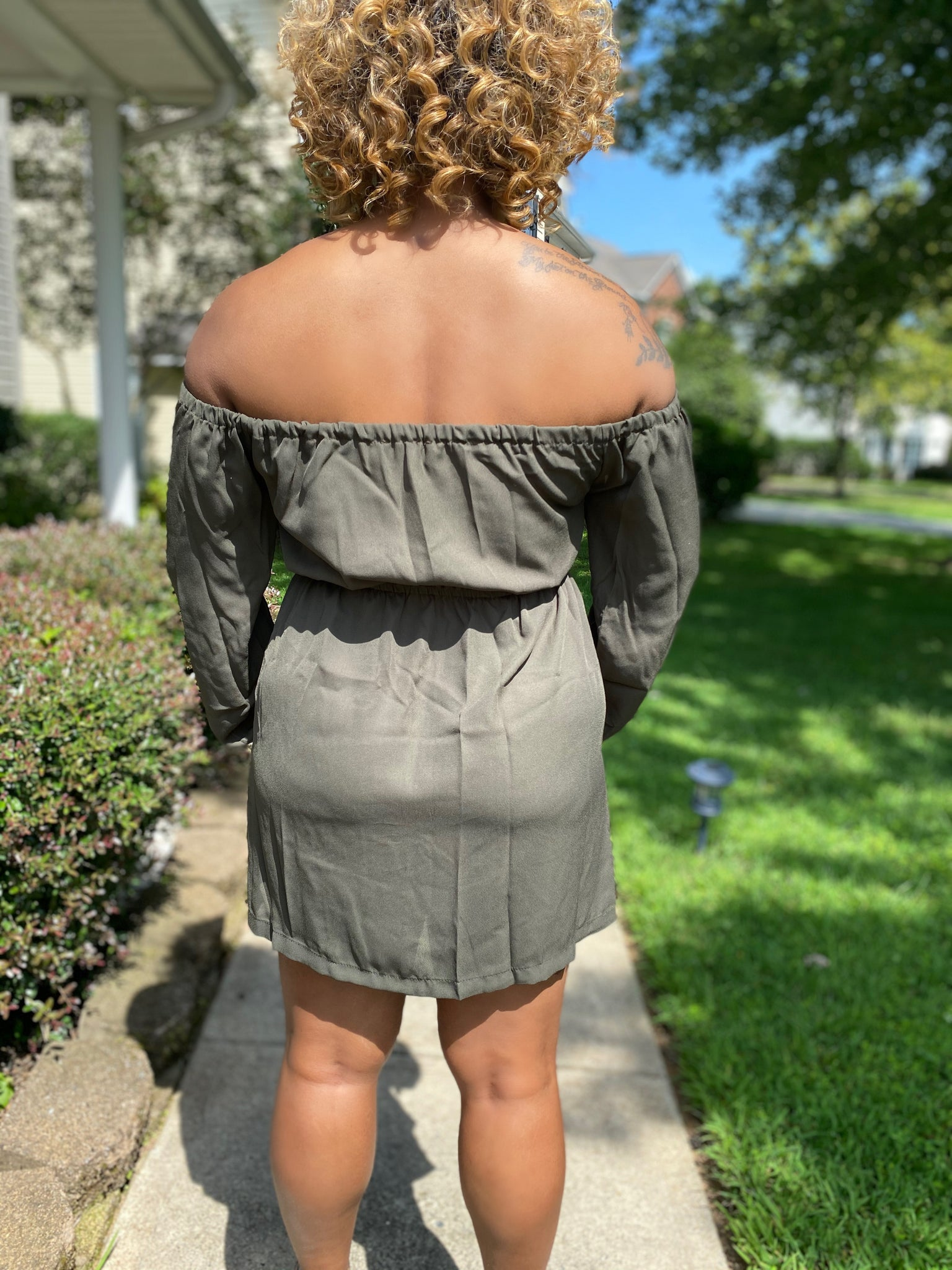Flirty Mini Dress- Olive