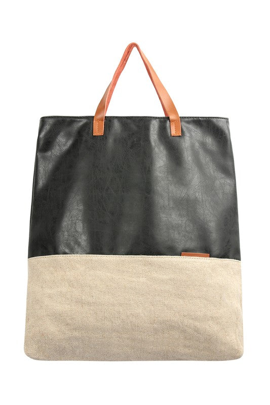 Leather Me Khaki Tote