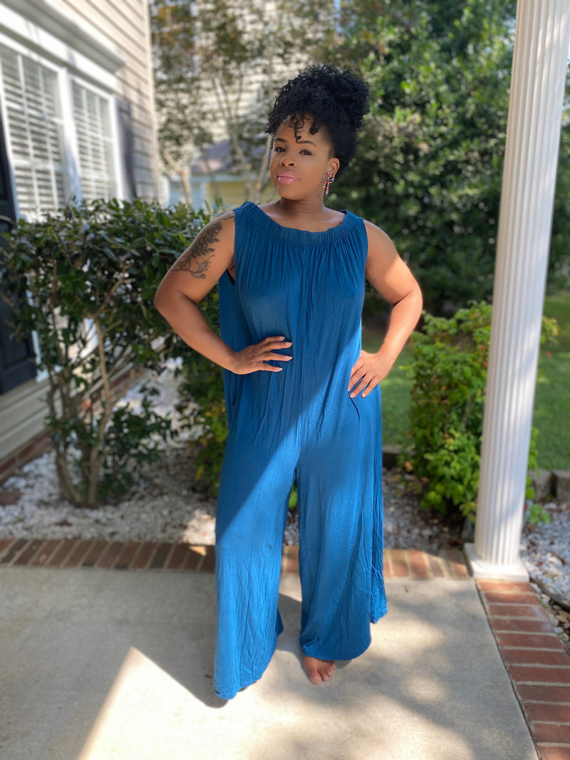Comfy and Cute Jumpsuit-Teal