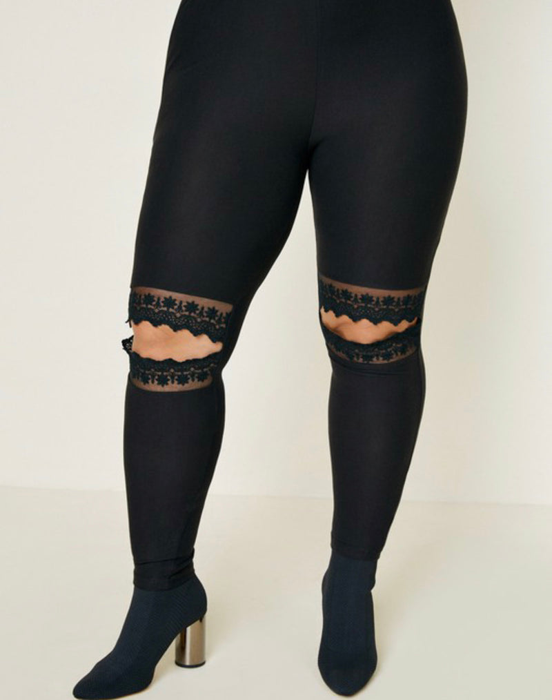 The Lace Cut Out Brushed Cotton Legging