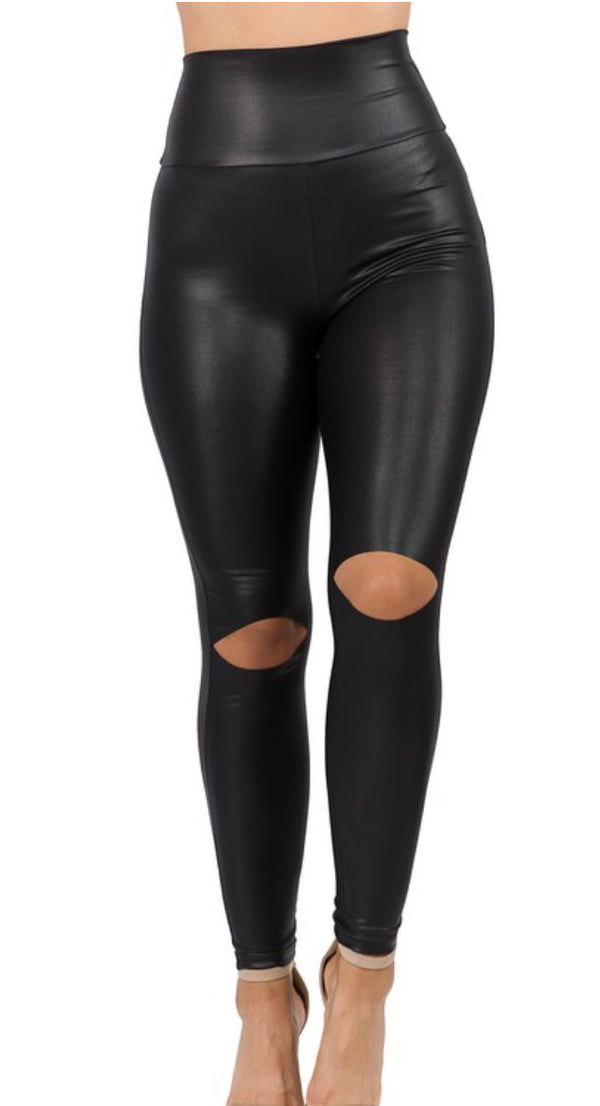Cutout knee Faux Leather Leggings-Black