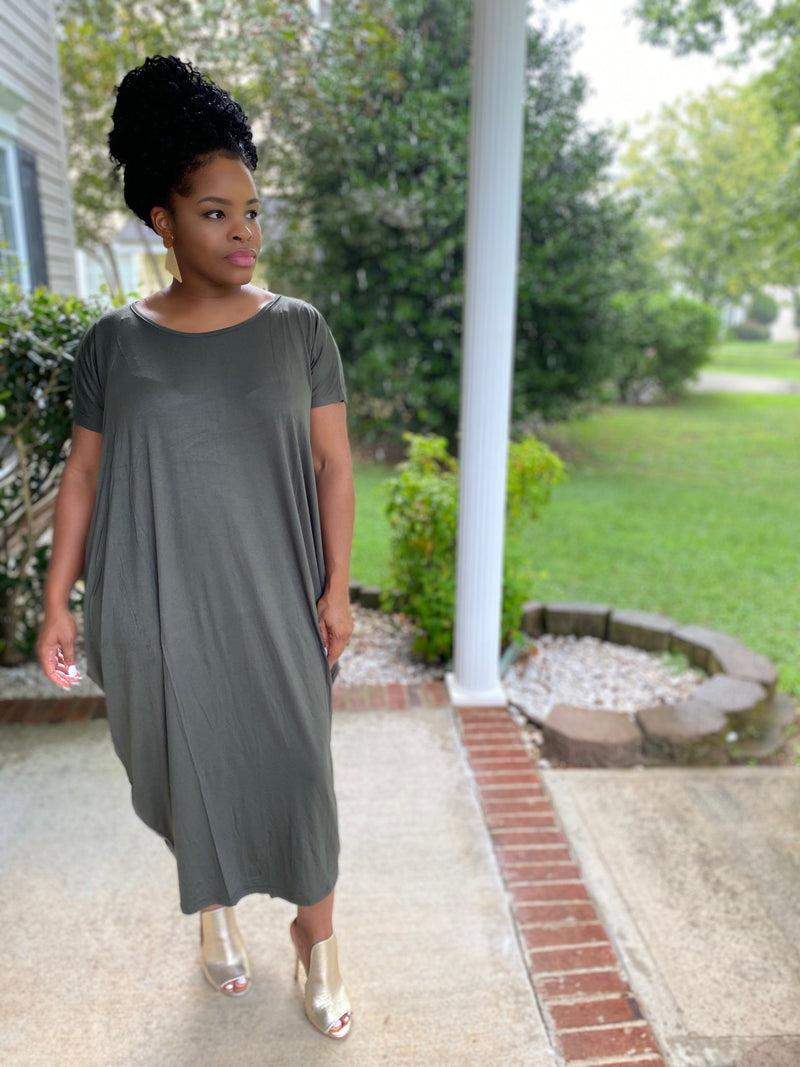 The Cocoon Dress-Olive Oyster