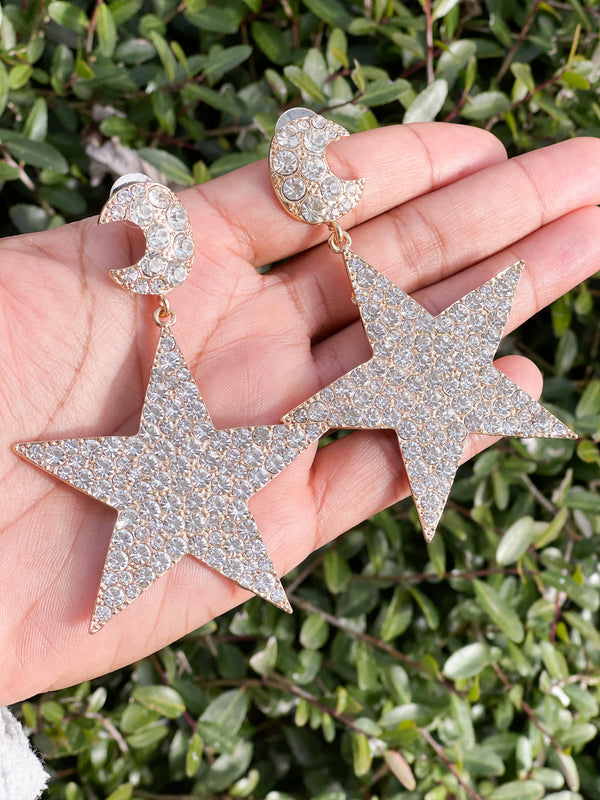 Moon & Stars Earrings- Silver