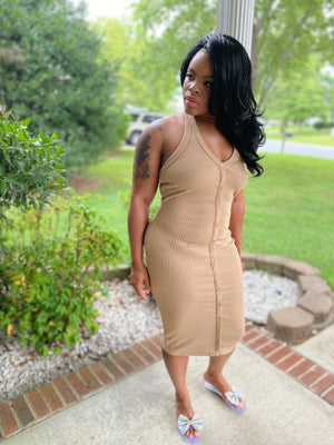Keisha Basic Dress- Khaki