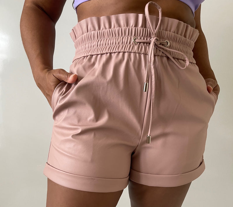 Vegan Leather Shorts-Blush