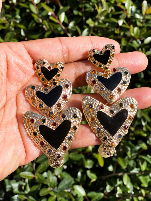 Black Heart Dangle Earrings