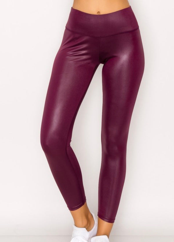 Glossy Leggings-Burgundy