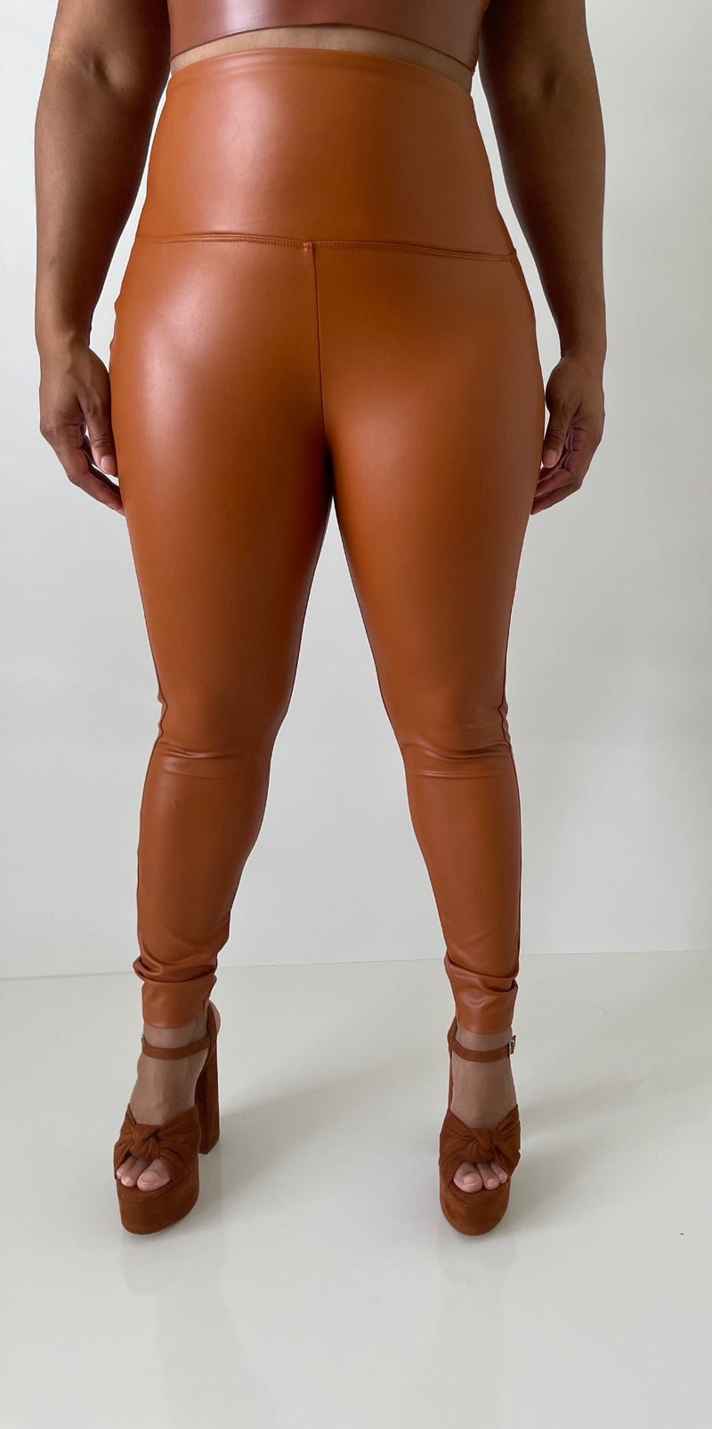 Faux Leather Leggings -Caramel