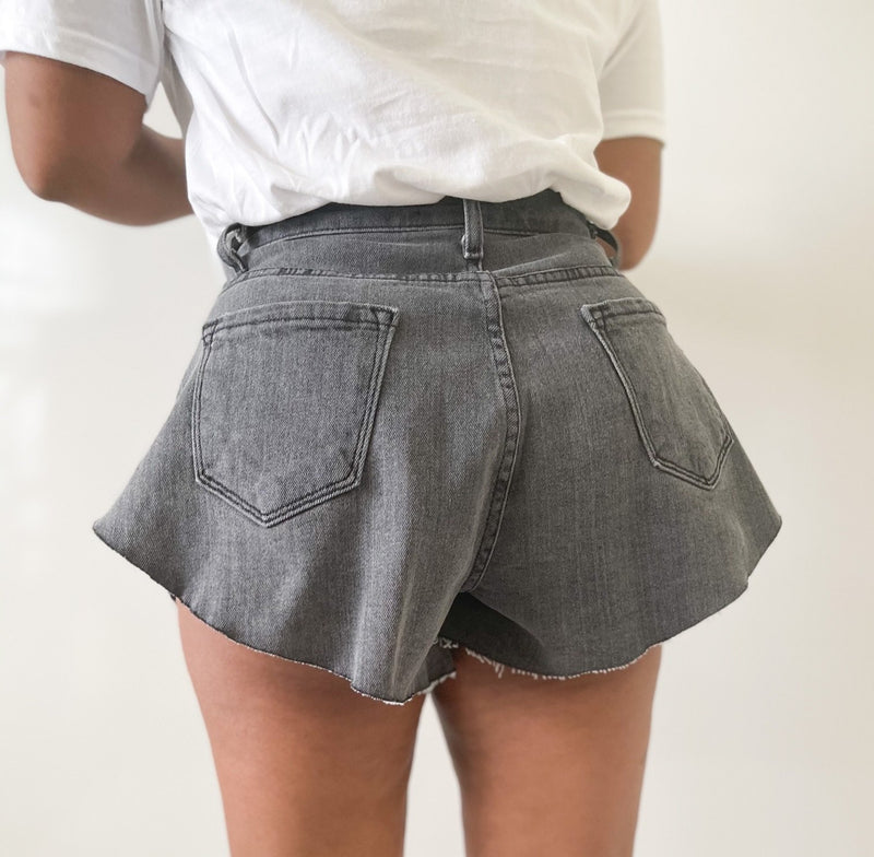Hi-Lo Asymmetrical Shorts-Ash Grey