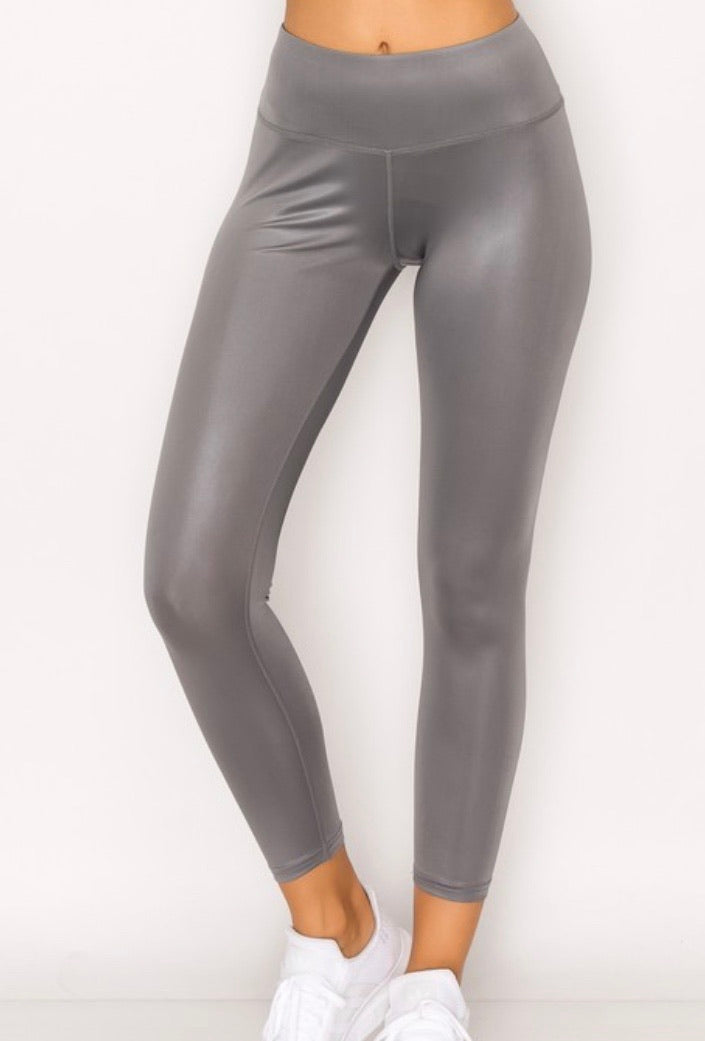 Glossy Leggings-Grey