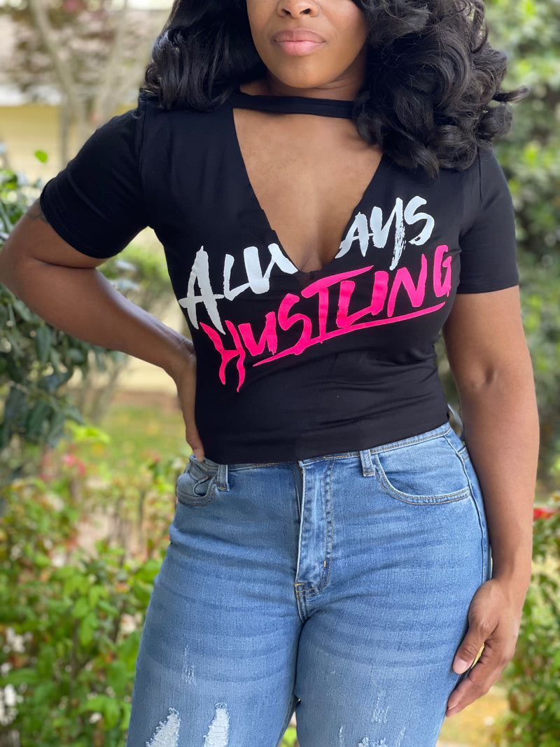 Always Hustling Top-Black