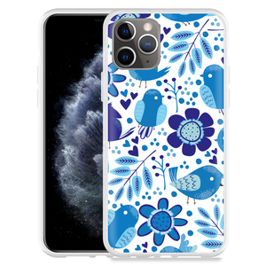 Apple iPhone 11 Pro Hoesje Blue Bird and Flowers