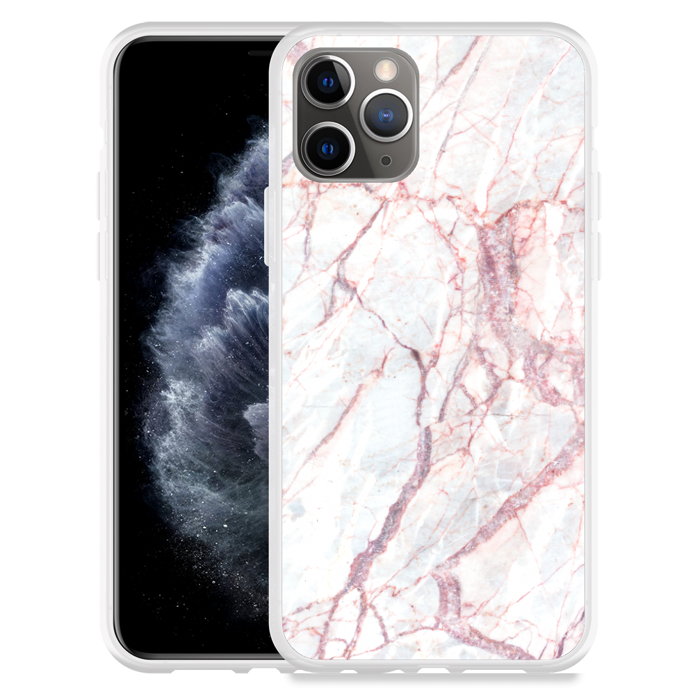 Apple iPhone 11 Pro Hoesje White Pink Marble