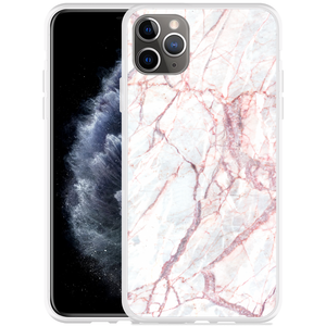 Apple iPhone 11 Pro Max Hoesje White Pink Marble
