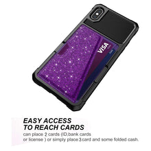 Load image into Gallery viewer, Just in Case Hybrid Card Holder Case Apple iPhone XS Max - Purple