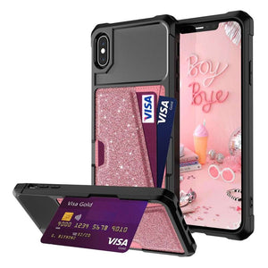 Just in Case Hybrid Card Holder Case Apple iPhone XS Max - Rose Gold