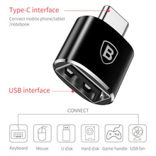 Load image into Gallery viewer, Baseus Adapter (USB naar USB-C) (Black)