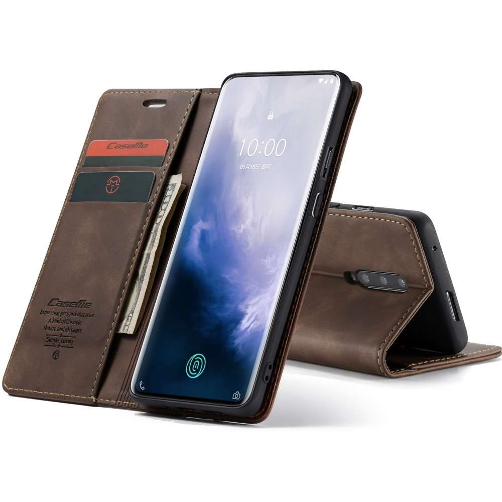 CASEME OnePlus 7 Pro Retro Wallet Case - Coffee